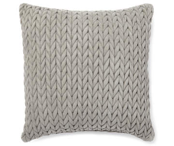 Gray+Braided+Decorative+Throw+Pillow+18+Inches+by+18+Inches+Front+View+Overhead+View+Silo+Image